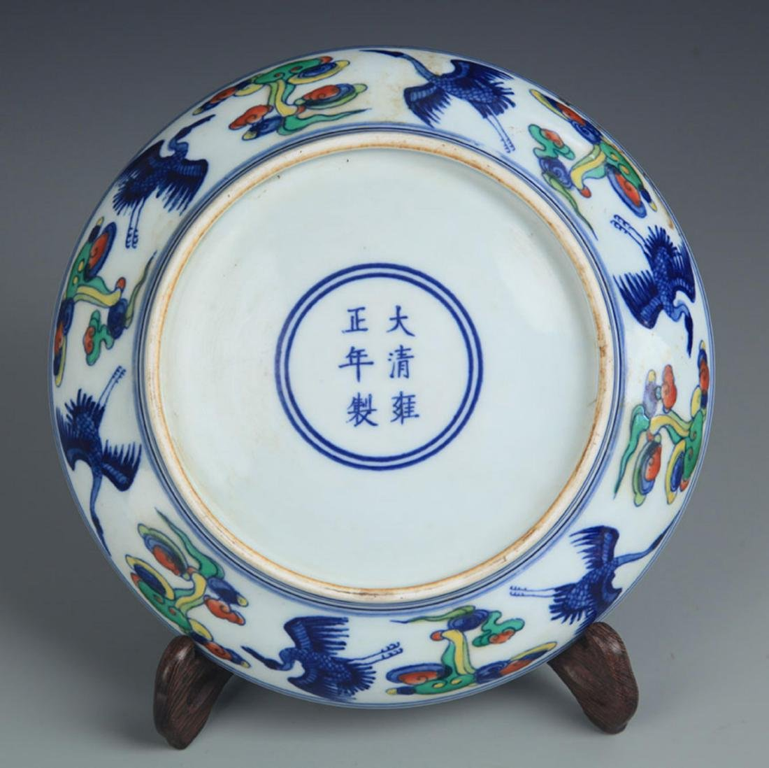 A DOU CAI BLUE AND WHITE PORCELAIN PLATE - 4