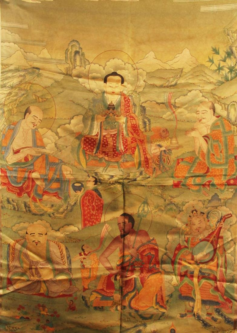 A FINE BHAISAJYAGURU BUDDHA ON FABRIC