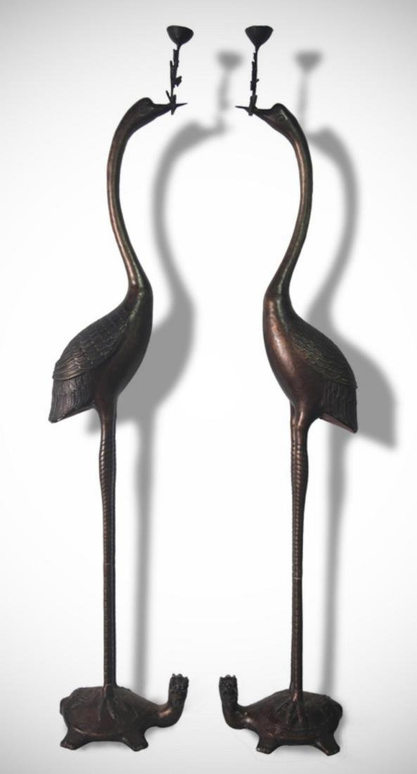 PAIR OF TALL BRONZE CRANE SHAPED CANDLE STAND