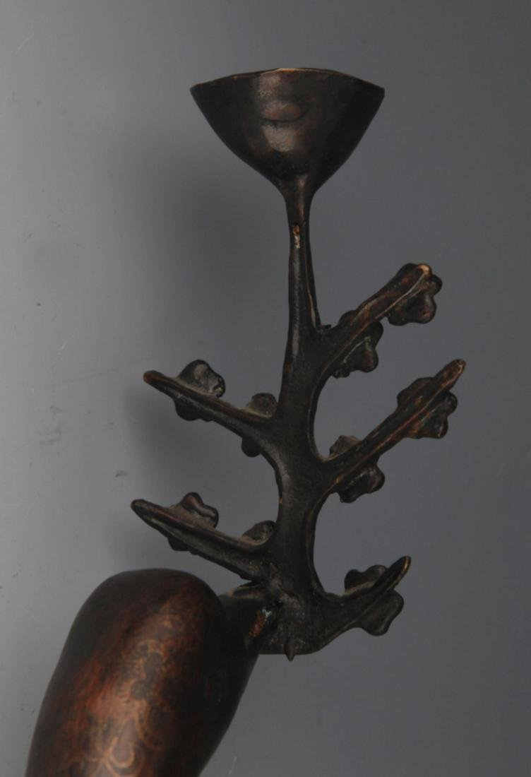 PAIR OF TALL BRONZE CRANE SHAPED CANDLE STAND - 4