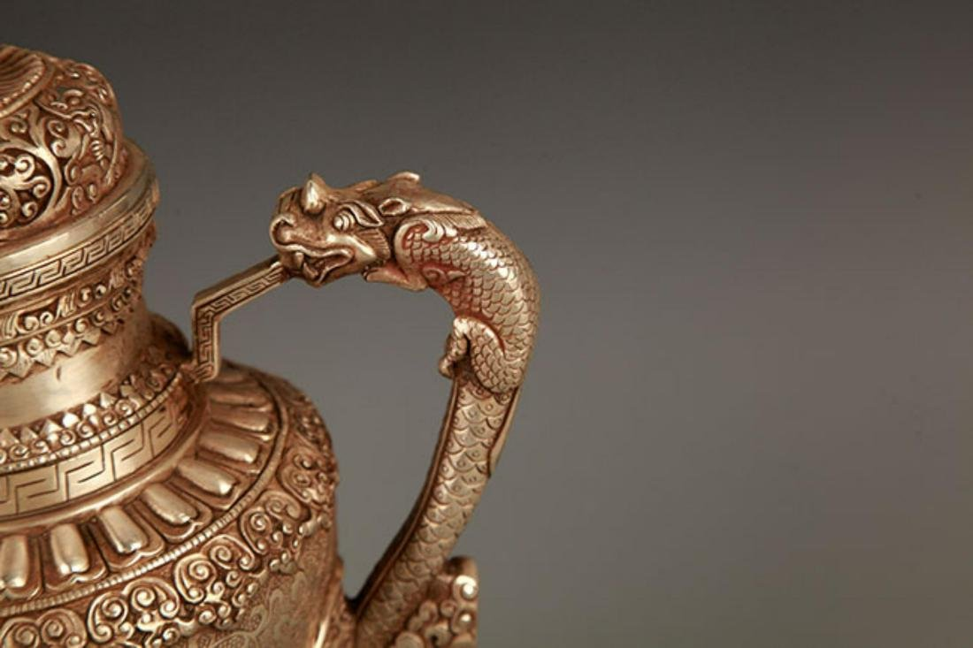 A TIBETAN BUDDHISM DRAGON HANDLE EWER - 3