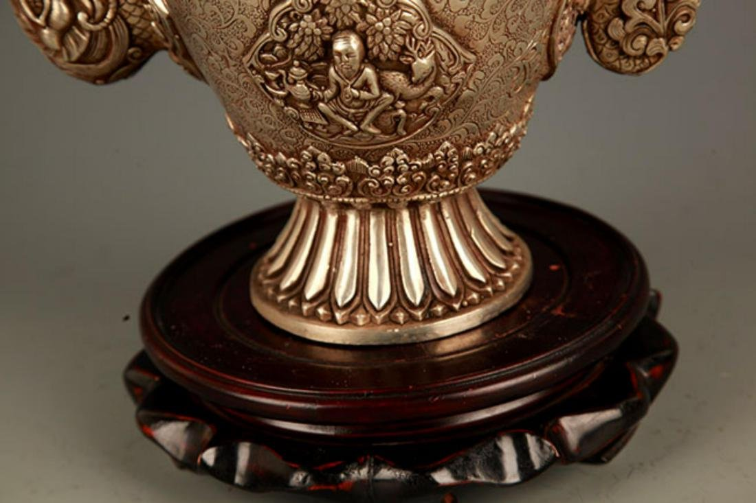 A TIBETAN BUDDHISM DRAGON HANDLE EWER - 6