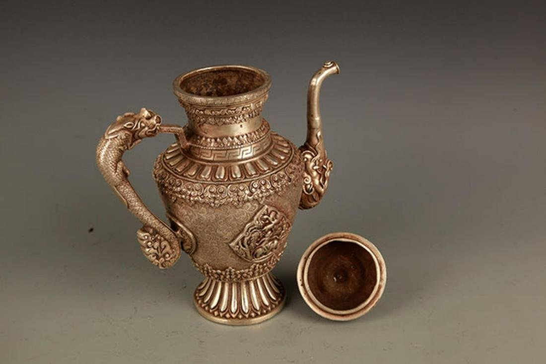 A TIBETAN BUDDHISM DRAGON HANDLE EWER - 7