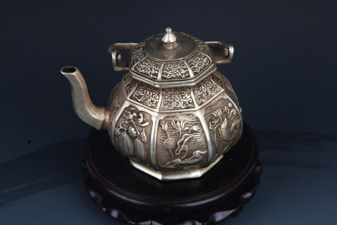 A FINELY CARVED SILVER PLATED BRONZE WATER POT - 2