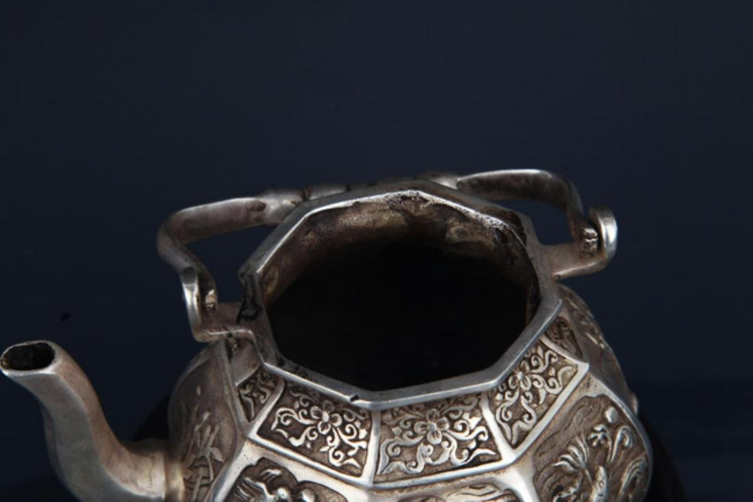A FINELY CARVED SILVER PLATED BRONZE WATER POT - 3