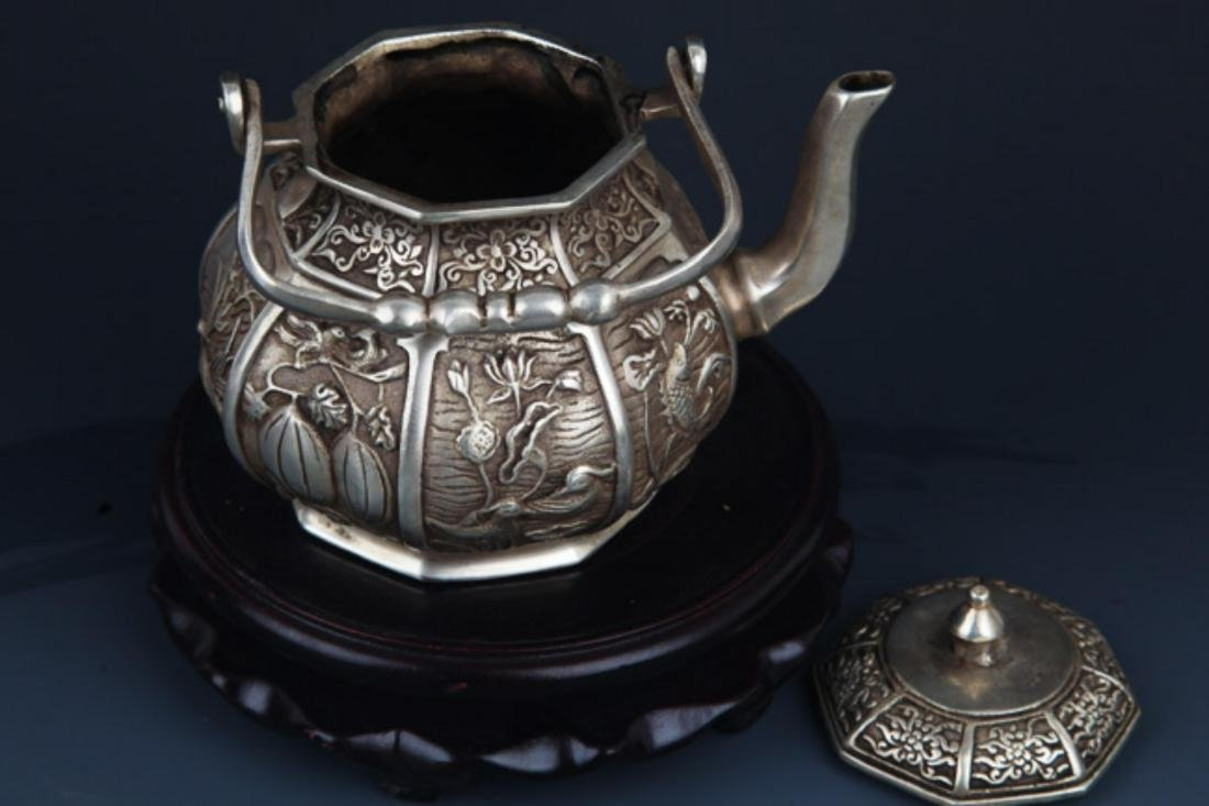 A FINELY CARVED SILVER PLATED BRONZE WATER POT - 5