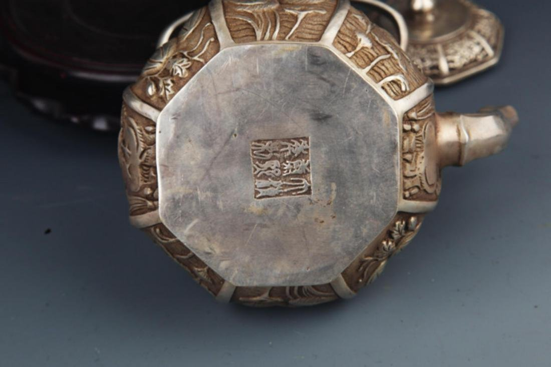 A FINELY CARVED SILVER PLATED BRONZE WATER POT - 6