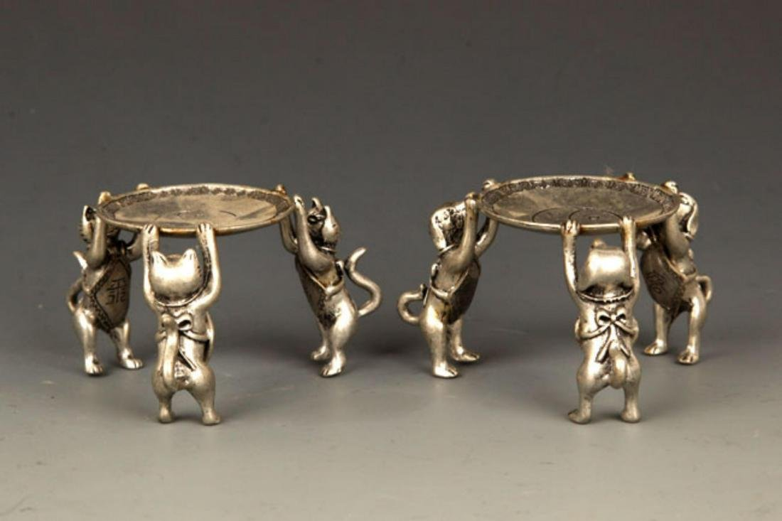 PAIR OF TREE DOG SILVER PLATED STAND