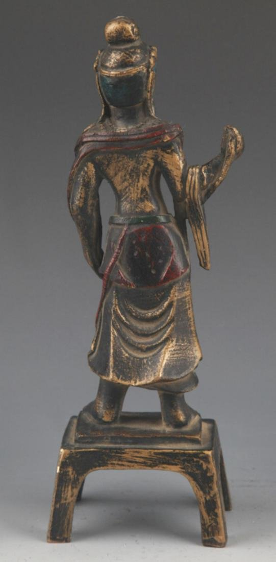 A FINELY CARVED BRONZE BUDDHA STATUE - 5