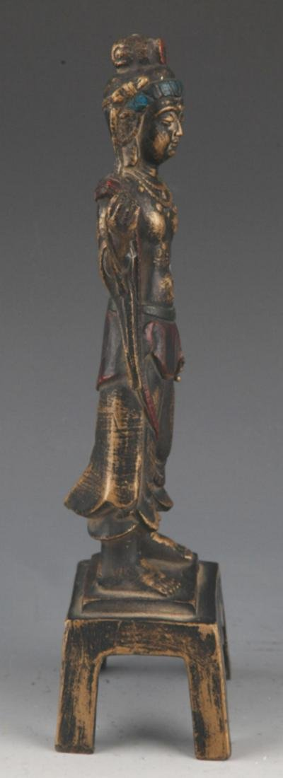 A FINELY CARVED BRONZE BUDDHA STATUE - 8