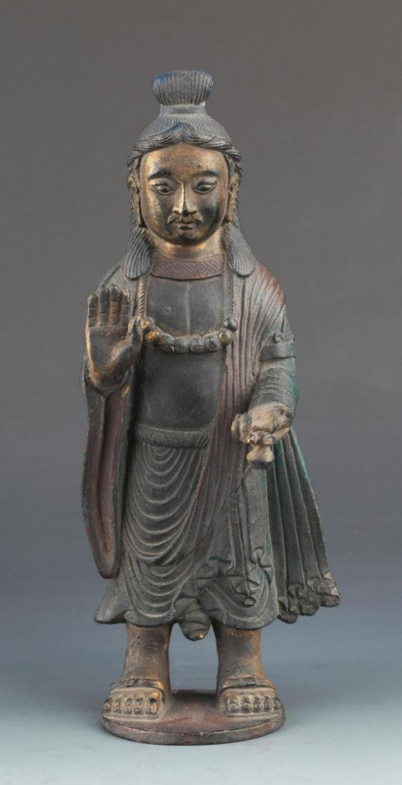 FINELY CARVED BRONZE FEMALE GUAN YIN