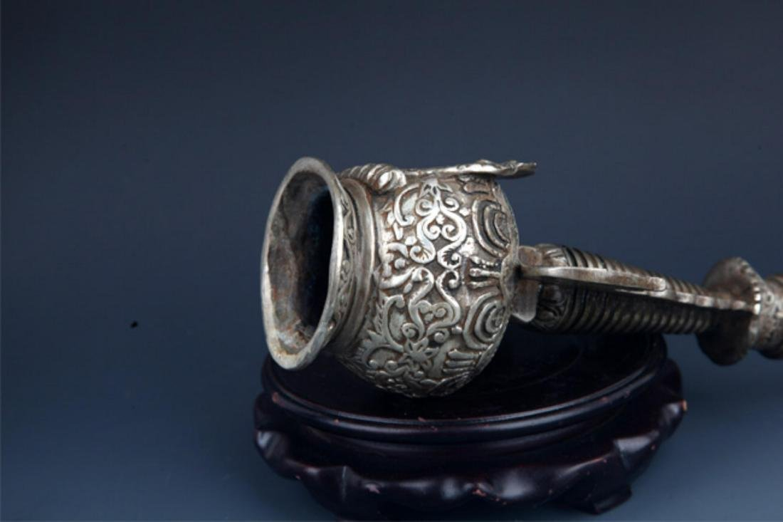 A FINELY CARVED AND TALL SILVER PLATED STUPA - 9