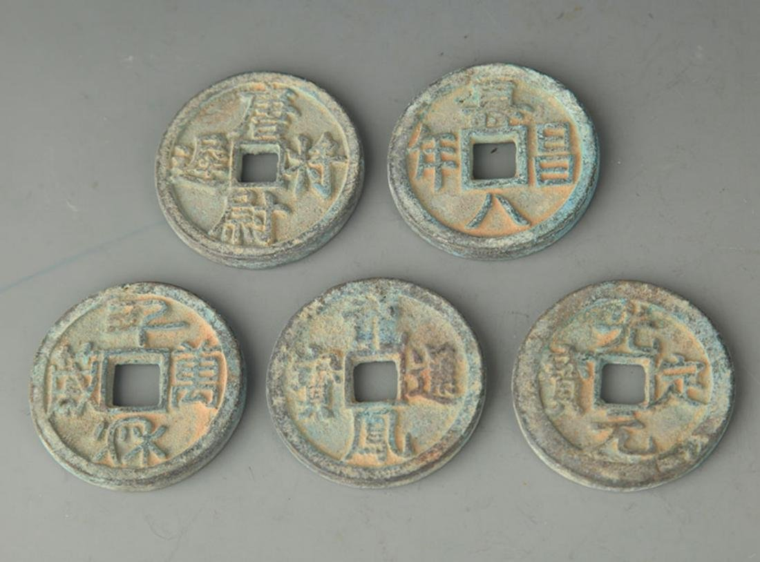 GROUP OF FIVE OLD CHINESE COIN