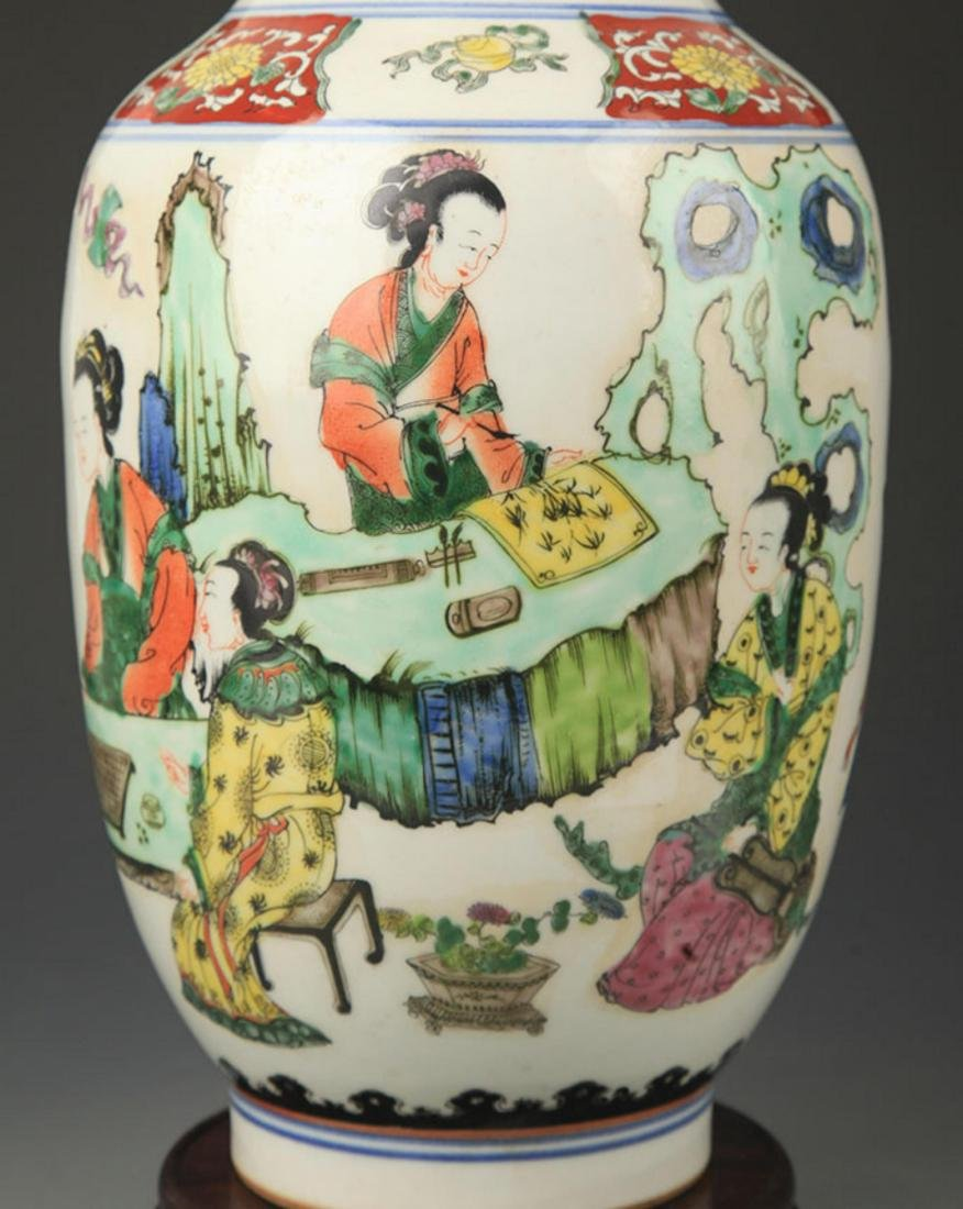 A FAMILLE ROSE FEMALE FIGURINE PAINTED VASE - 3