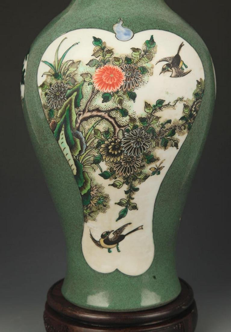 FAMILLE VERTE FLOWER AND BIRD PAINTED VASE - 3