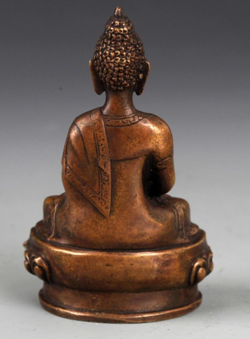A BRONZE MODEL OF AKSHOBHYA BUDDHA - 4