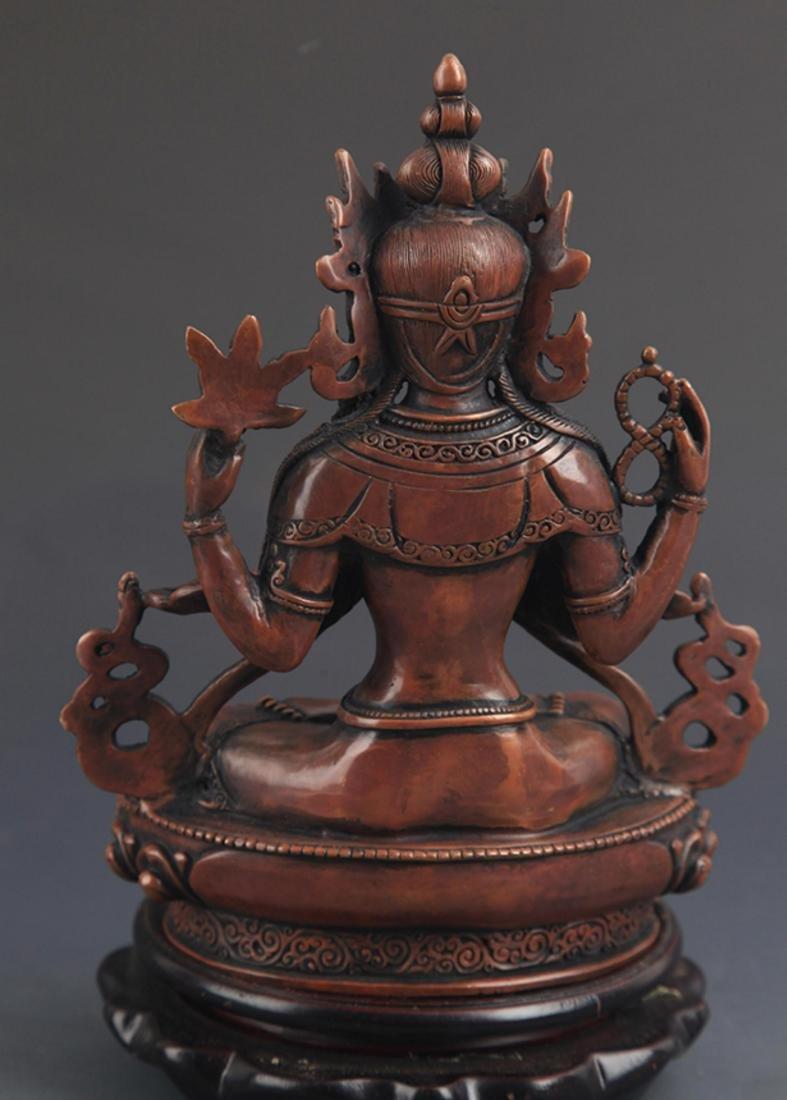 A BRONZE TIBETAN FOUR ARM BUDDHA STATUE - 5