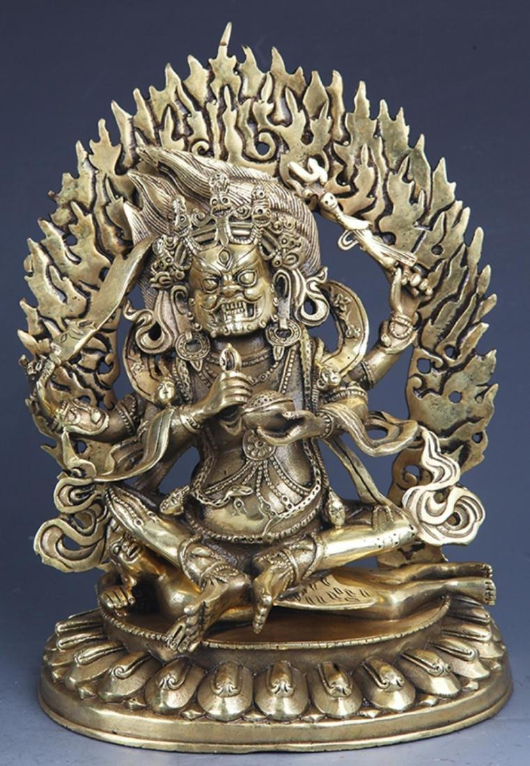 A FINELY CARVED MAHAKALA BRONZE BUDDHA