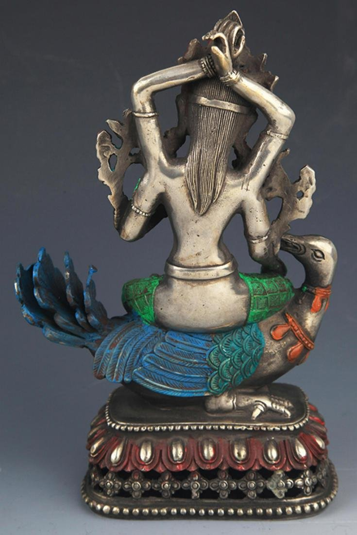 A COLORFUL PAINTED BRONZE BUDDHA - 7