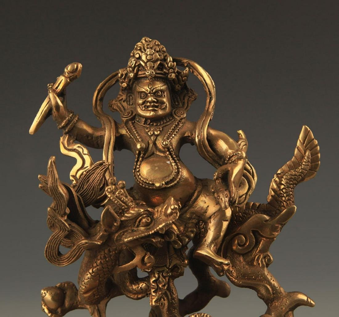 A FINE BRONZE TIBETAN GOD OF WEALTH FIGURE - 2