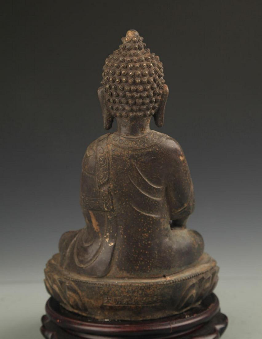 A FINE BRONZE AKSHOBHYA BUDDHA STATUE - 5