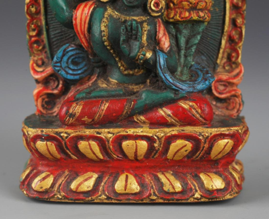 A FINELY CARVED TURQUOISE STONE TIBETAN BUDDHA - 3