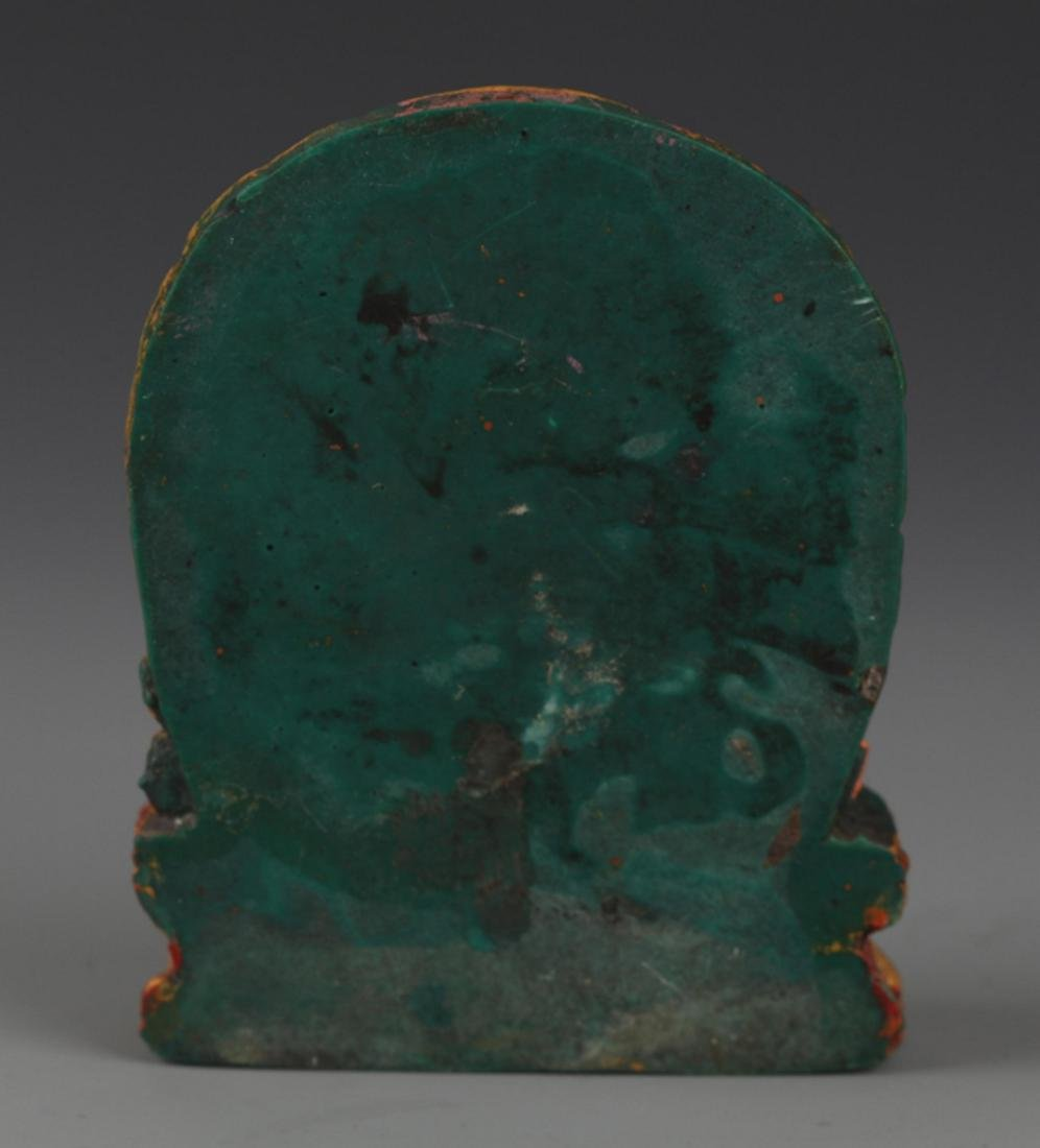 A FINELY CARVED TURQUOISE STONE TIBETAN BUDDHA - 4