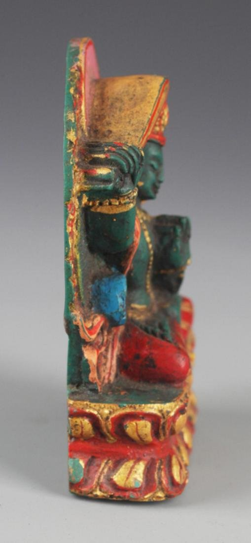 A FINELY CARVED TURQUOISE STONE TIBETAN BUDDHA - 5