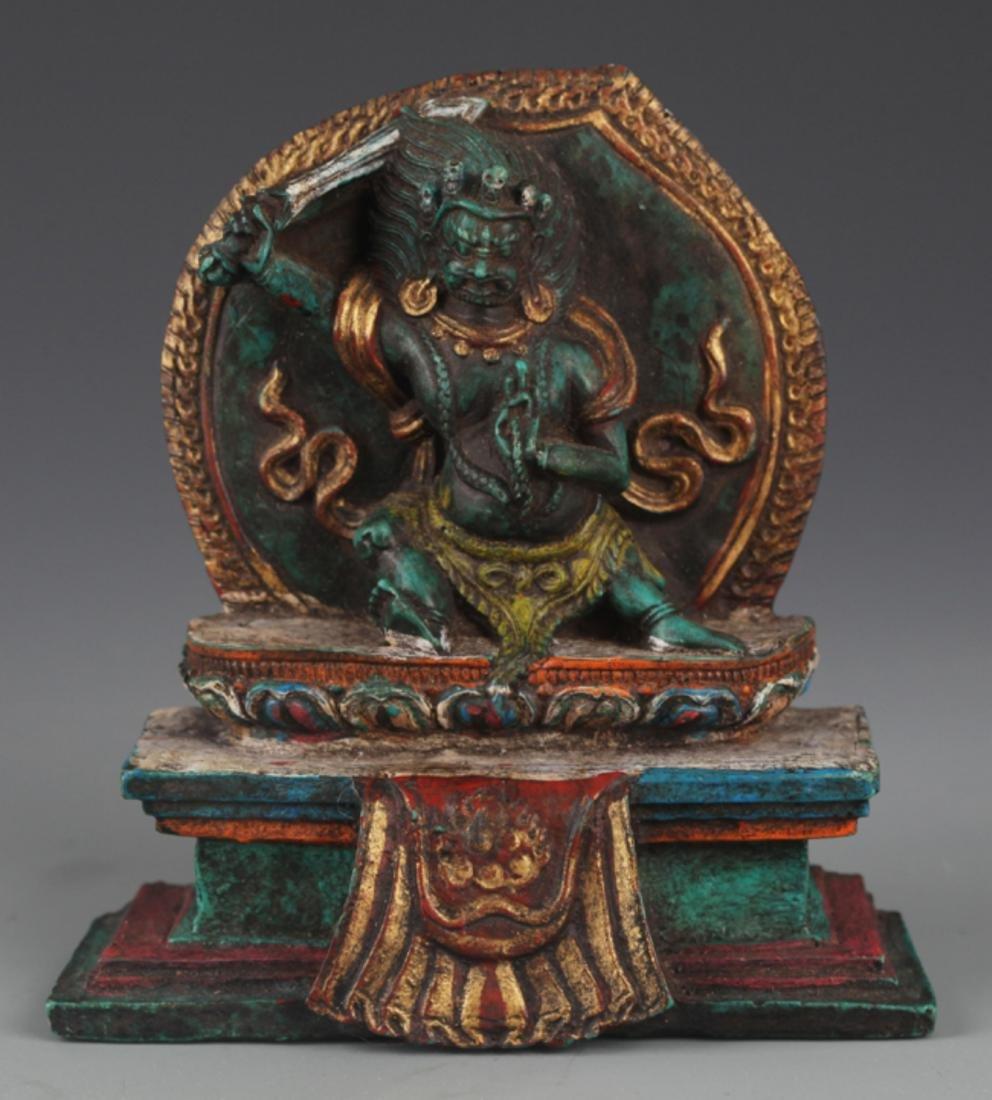 A FINE TURQUOISE MADE TIBETAN BUDDHISM FIGURE
