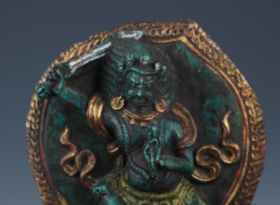 A FINE TURQUOISE MADE TIBETAN BUDDHISM FIGURE - 2