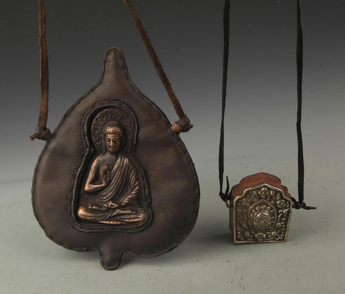 GROUP OF TWO TIBETAN BUDDHISM GAWU PENDANT