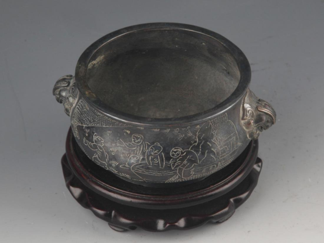 A BRONZE STORY CARVING DOUBLE EAR CENSER - 2
