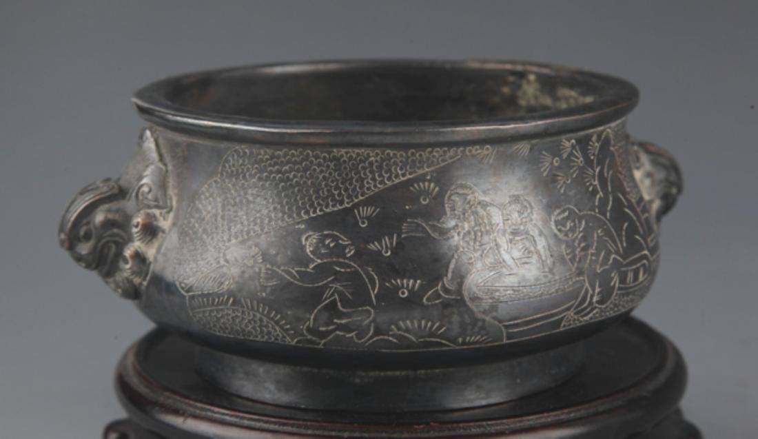 A BRONZE STORY CARVING DOUBLE EAR CENSER - 4