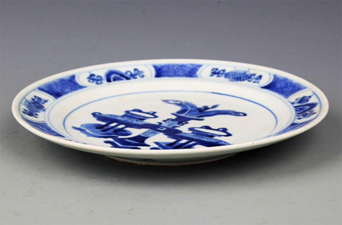 PAIR OF BLUE AND LANDSCAPING WHITE PORCELAIN PLATE - 10