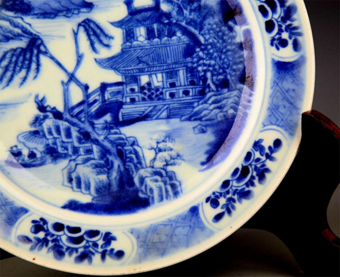 PAIR OF BLUE AND LANDSCAPING WHITE PORCELAIN PLATE - 3