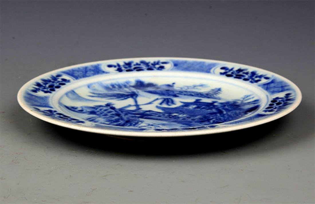 PAIR OF BLUE AND LANDSCAPING WHITE PORCELAIN PLATE - 4