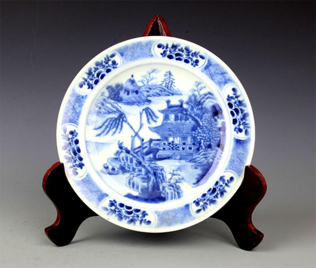 PAIR OF BLUE AND LANDSCAPING WHITE PORCELAIN PLATE - 5