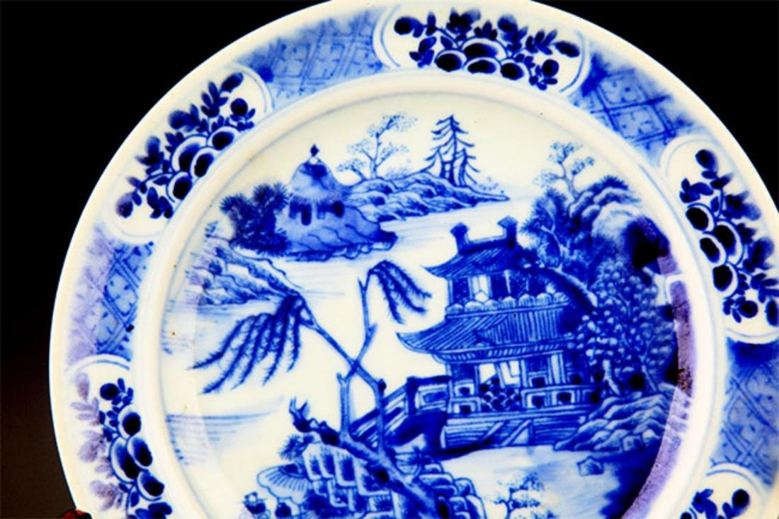 PAIR OF BLUE AND LANDSCAPING WHITE PORCELAIN PLATE - 6