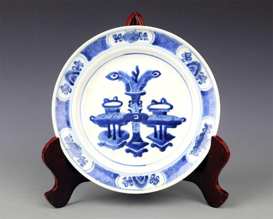 PAIR OF BLUE AND LANDSCAPING WHITE PORCELAIN PLATE - 7