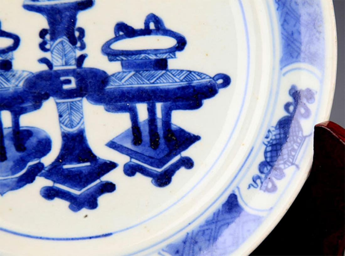 PAIR OF BLUE AND LANDSCAPING WHITE PORCELAIN PLATE - 9