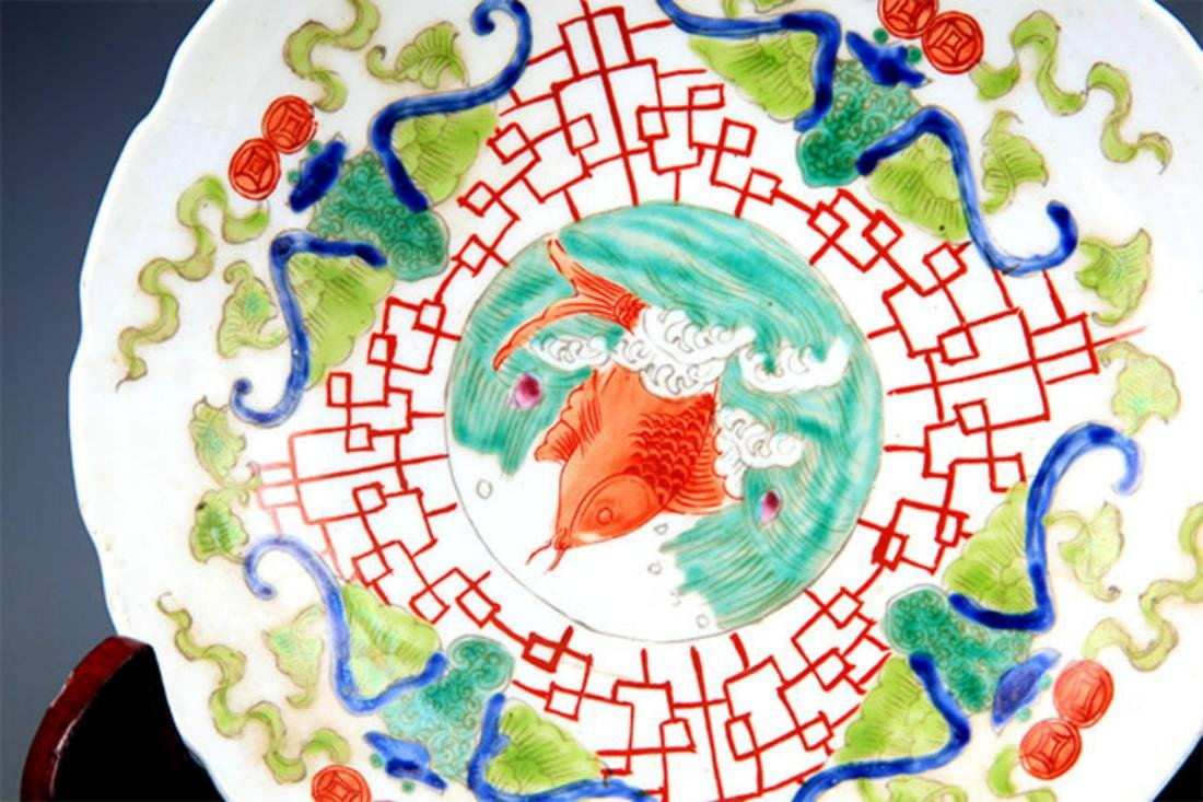 PAIR OF FAMILLE ROSE FLOWER PATTERN PORCELAIN PLATE - 4