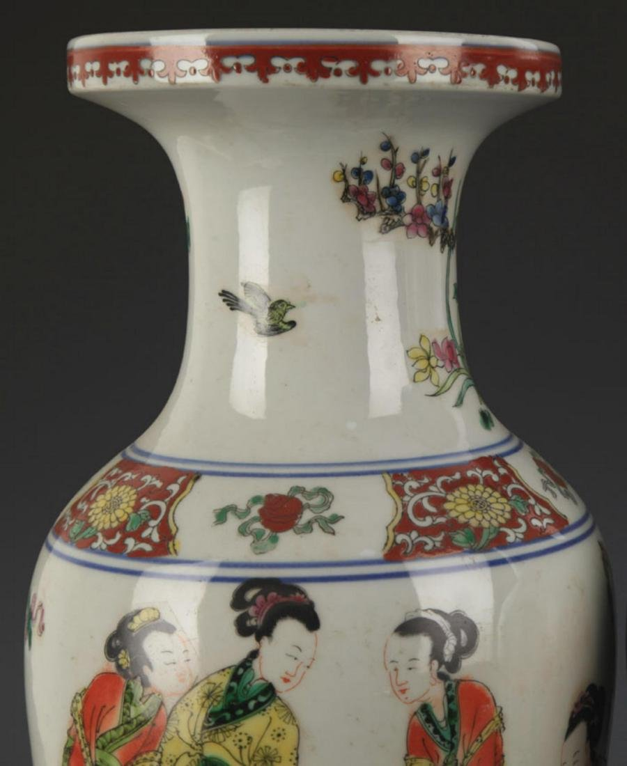 A FAMILLE ROSE STORY PAINTED DECORATIVE VASE - 2