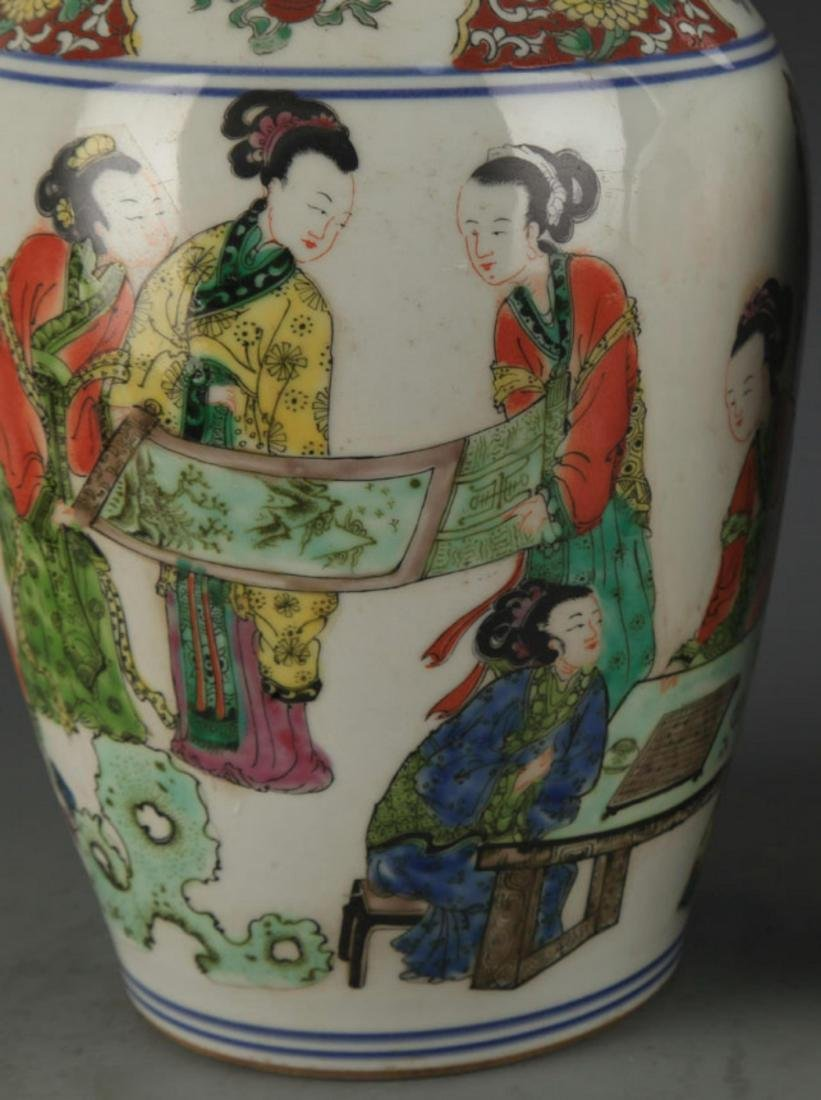 A FAMILLE ROSE STORY PAINTED DECORATIVE VASE - 3