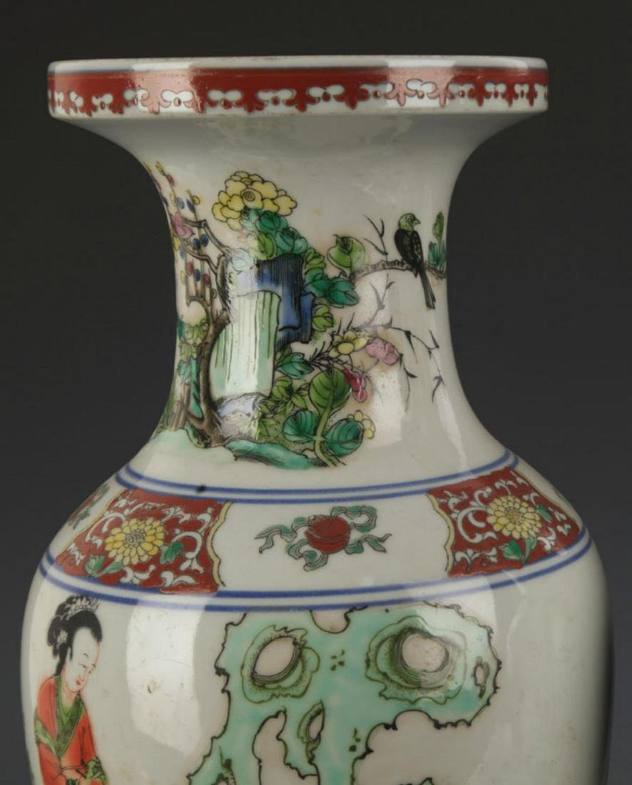 A FAMILLE ROSE STORY PAINTED DECORATIVE VASE - 4