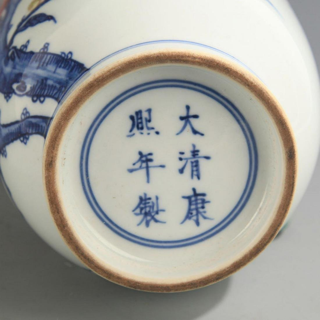 BLUE AND WHITE FAMILLE ROSE PEACH PATTERN VASE - 5