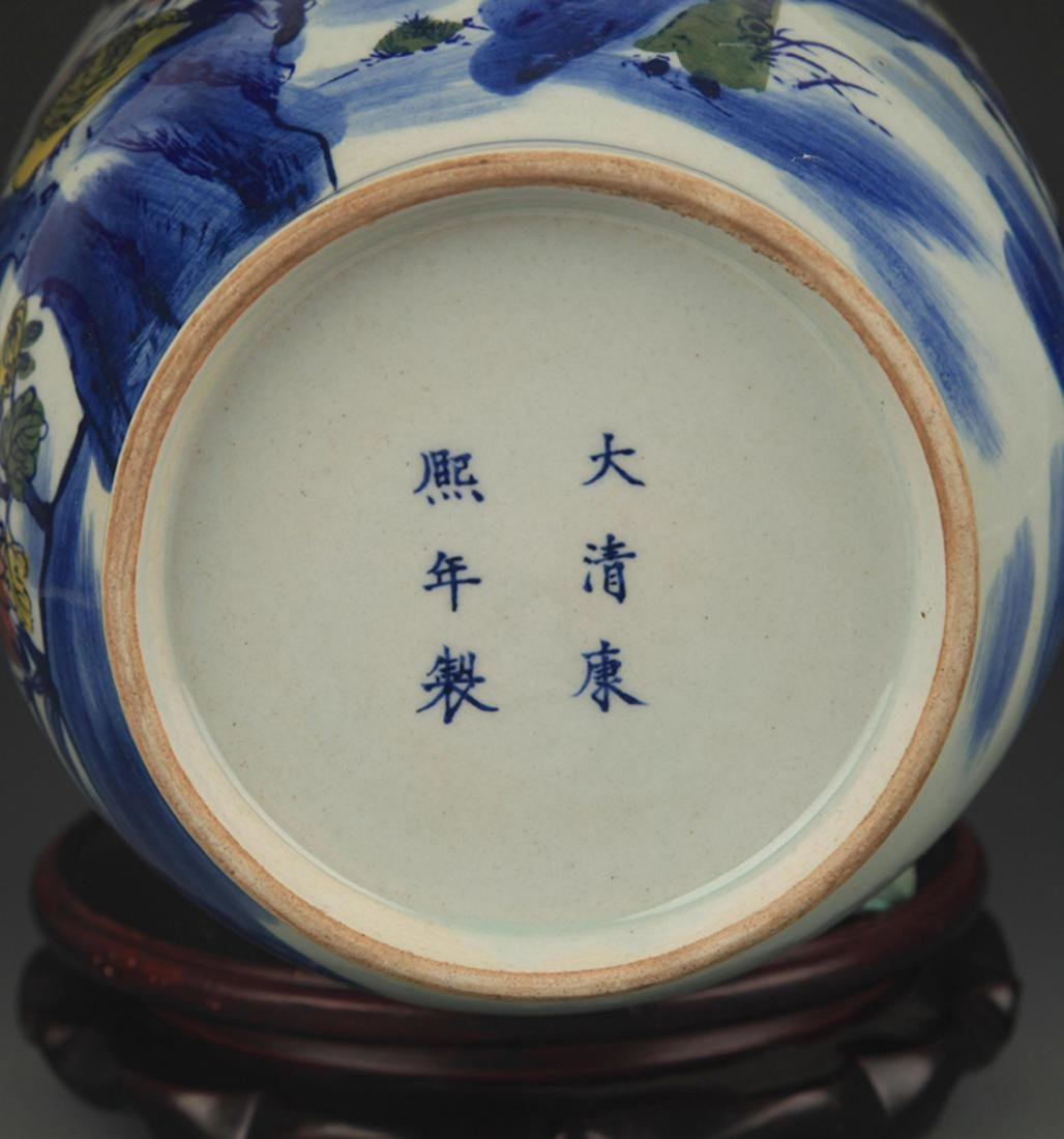 BLUE AND WHITE FAMILLE ROSE CHICKEN PATTERN VASE - 5