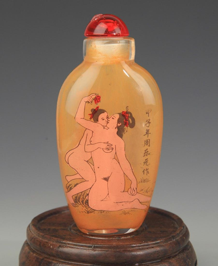 A FINE FEMALE PAINTED GLASS SNUFF BOTTLE - 2