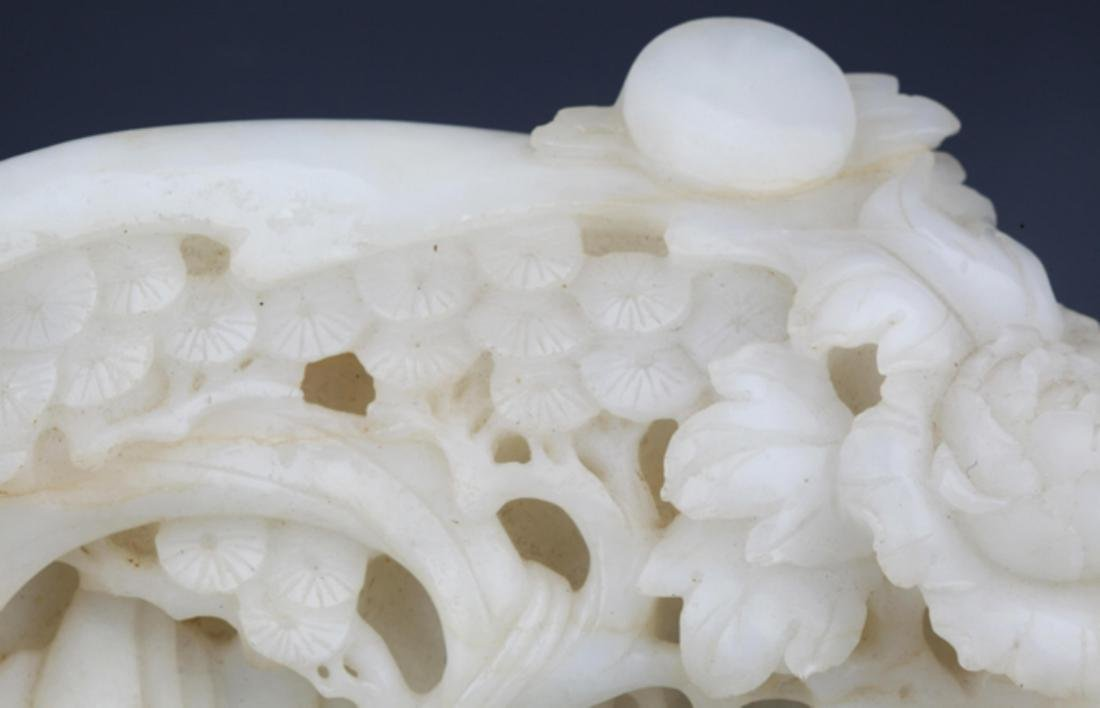 A RARE AND FINELY CARVED WHITE JADE DECORATION - 2