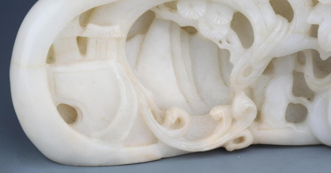 A RARE AND FINELY CARVED WHITE JADE DECORATION - 4