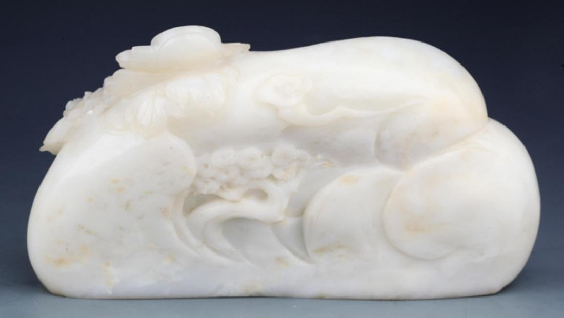 A RARE AND FINELY CARVED WHITE JADE DECORATION - 5